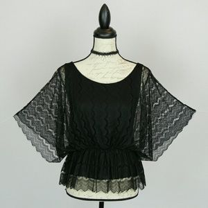 OLD NAVY black lace batwing top